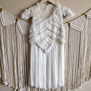 FREE PEOPLE White Silk Fringe Boho Flapper Dress 8